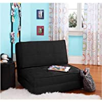 Flip Out Chair Futon with 3 Convertible Positions, Ultra-Suede Material for Added Comfort (Rich Black)