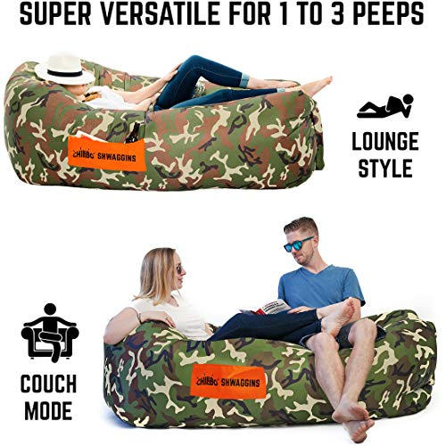 Chillbo SHWAGGINS 2.0 Best Inflatable Lounger Portable Hammock Air Sofa and Camping Chair Inflatable Couch Beach Chair Camping Accessories for Picnics & Festivals