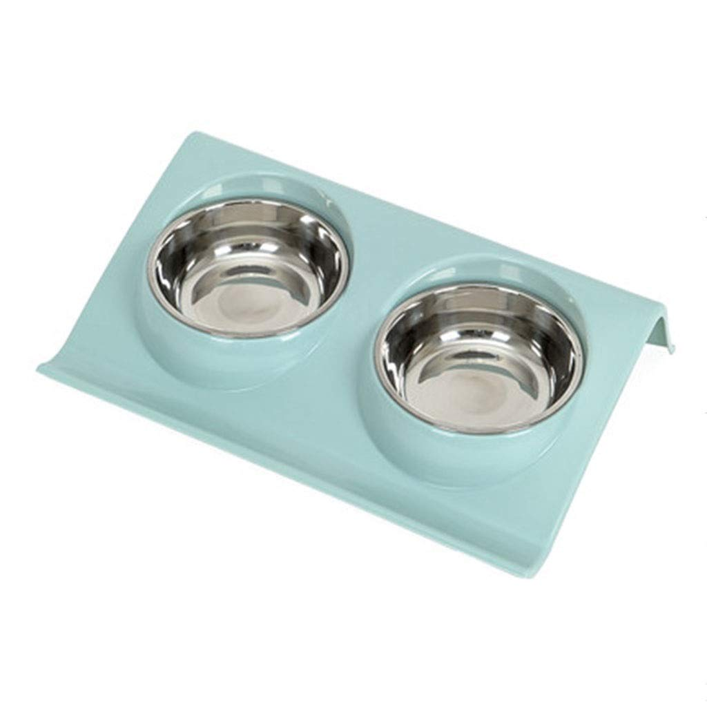 bluee M bluee M ZHBWJSH Pet Bowl, Predect The Cervical Spine, Feed The Cat Pot, Cat Food Bowl, Cat Bowl, Double Bowl (color   bluee, Size   M)