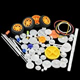 Fujiyuan 1 Package 78 pcs Plastic Gear Pulley Belt Shaft Robot Motor Worm Crown Hand DIY Car Toy Kit Hobby