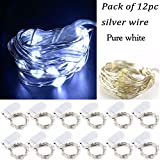 LRCXL Pack of 12 LED Battery Operated Lights 20 Micro Starry LEDs on Silver Wire,Batteries Included,6.5 Ft (2m) for Graduation Party Favors Rustic Wedding Centerpiece or Table Decorations (Pure White)