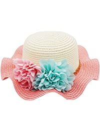 Bienvenu Little Girls Straw Floral Wide Large Brim Beach Sun Hat Cap,Style2_Pink