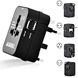 Aukru Universal Portal Power International Travel Adapter with Dual USB Ports Charger (5V 2.1A) / AII-in-1 Worldwide Multiple Plug Adapter Canada US EU UK AU - Universal AC Socket - Black
