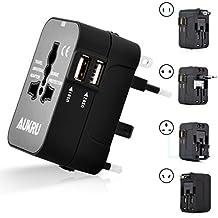 Aukru Universal Portal Power International Travel Adapter with Dual USB Ports Charger (5V 2.1A) / AII-in-1 Worldwide Multiple Plug Adapter Canada US EU UK AU - Universal AC Socket - Black