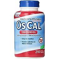 OsCal 500 mg Calcium + 200 IU Vitamin D3 Caplets Calcium Supplement, 210 count