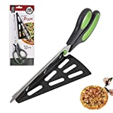 """NHSUNRAY Stainless Steel Pizza Cutter Scissors with Removable Spatula and Safety Switch 2 in 1 Pizza Kitchen Tool 11"""" Long (Black-Green)"""