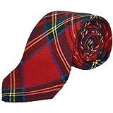 Traditional Red Tartan Check Tie, Necktie, Scotland, Highland, Scottish, Stewart