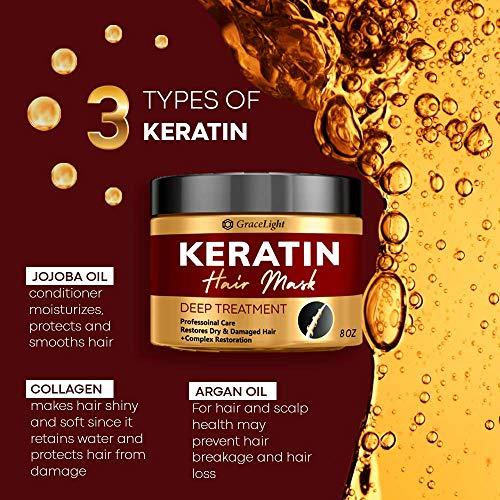 Keratin Hair Treatment - Repairs Dry & Damaged Hair - Professional Keratin Complex with Vitamin E - Aloe Vera - Avocado Oil - Moisturizing Anti Frizz Hair Mask - Keratin Hair Mask Deep Conditioner - Made in USA