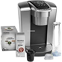 Keurig K-Elite C Single Serve Coffee Maker (Brushed Silver) with 15 K-Cups, Water Filter, and My K-Cup