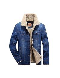 HEMAY Men's Classic Denim Jacket Rugged Wear Thick Cowboy Coat Plus Size