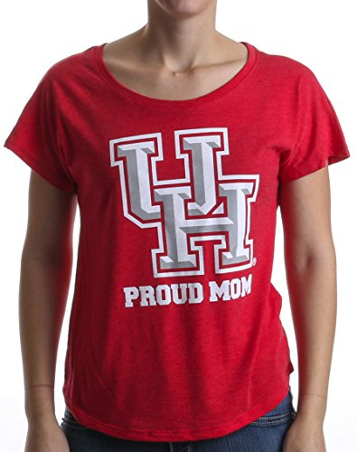 Proud University of Houston Mom | UH Mother Ladies' Flowy Open Neck T-shirt