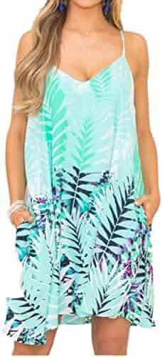 2b501ba8100c Sunward 2018 Women Spaghetti Strap Sundress Mini Casual Sexy Flowy Cami  Beach Short Dress