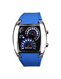 Yesurprise Fashion Silicone Rubber Band Blue Binary DOT Unisex LED Wrist Watch Deep Blue
