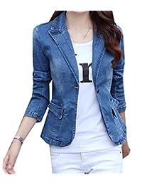 Freely Women's Stretch Denim Slim Casual One Button Blazer Jacket Coat