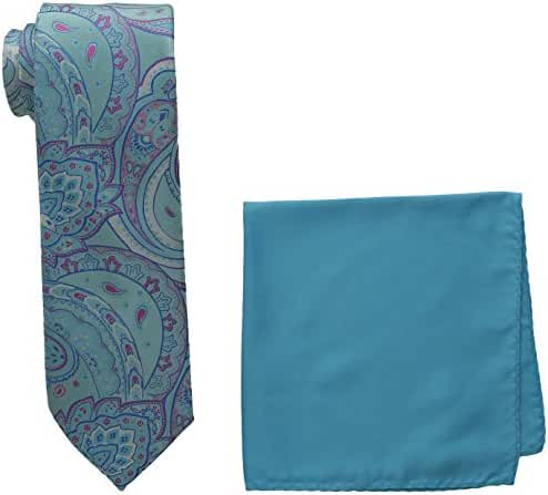 Steve Harvey Men's Tall Extra Long Paisley Woven Necktie and Solid Pocket Square