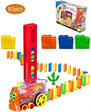 Domino Train Toy Set,Domino Rally, Automatically Start, Happy stackers Game,Dominoes Building and Stacking Toy