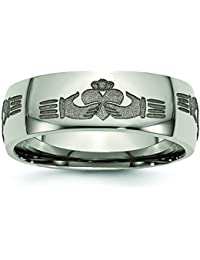 7d837f0cee 8mm Polished Finish Classic Domed Laser Engraved Claddagh Design Titanium  Wedding Band. Jewelry Pilot