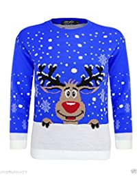 Girlzwalk Girls Xmas Snow Flakes Reindeer Star Print Knitted Jumper