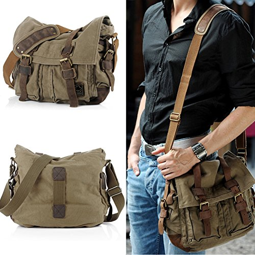 Messenger Bag,Bienna Vintage Military Canvas Satchel Laptop Over Shoulder Crossbody Sling Bag Handbag Side Bags Purse with Leather Straps for Men Women School Outdoor Sports EDC 15