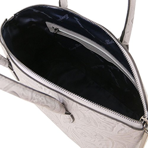 Tuscany Leather Gaia Borsa shopper in pelle stampa floreale Grigio Grigio