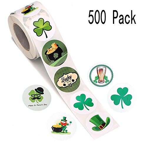 Moon Boat 500 PCS St. Patrick's Day Stickers Labels Roll- Shamrock/Hat/Beer/Leprechaun/Treasure- Party Favors Decorations