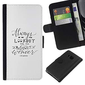 KLONGSHOP // Tirón de la caja Cartera de cuero con ranuras para tarjetas - E B White Escritor Citar Texto motivación - HTC One M9 //