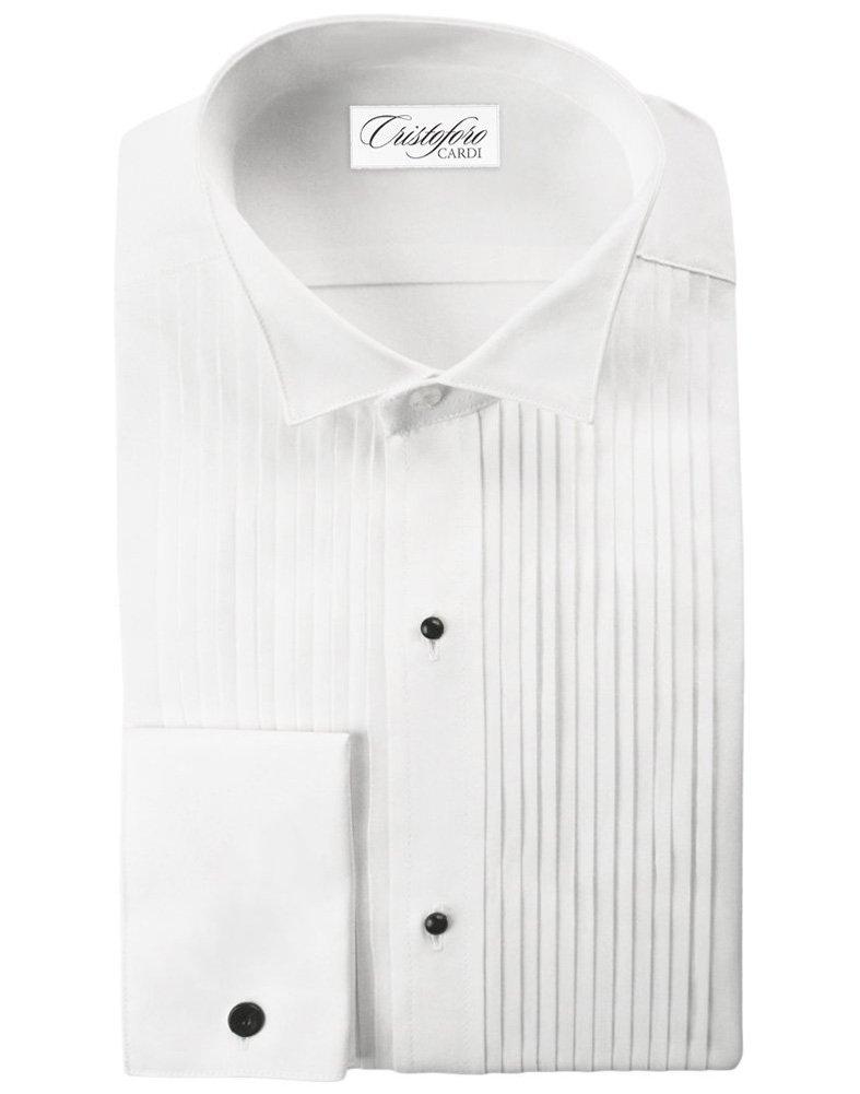 Cardi Men's 100% Cotton Wing Collar Tuxedo Shirt, 1/4 inch pleat, 18 36-37 by Cardi