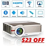 EUG 4200 Lumens WXGA Smart HD Projector with Wifi Bluetooth Android6.0, LED LCD 1080P Home Theater Outdoor Movie Projectors HDMI USB VGA AV Audio Bluetooth for iPad TV Smartphone PS4 Laptop Gaming