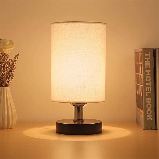 Runde Tischleuchten mit Stoffschirm klassische Nachttischlampen für Schlafzimmer