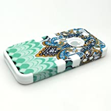 HJX White iphone 4S/4G Cool 3-Piece Butterfly Tribal Tribe Pattern High Impact Silicone Hybrid Combo Hard Case Cover for iPhone 4 4G 4S