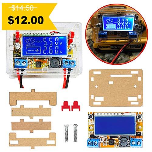 Icstation DC-DC Adjustable Voltage Regulator DC Buck Converter 5-23V to 0-16.5V 3A Step Down Power Supply Module LCD Display Digital Voltmeter Ammeter with Shell