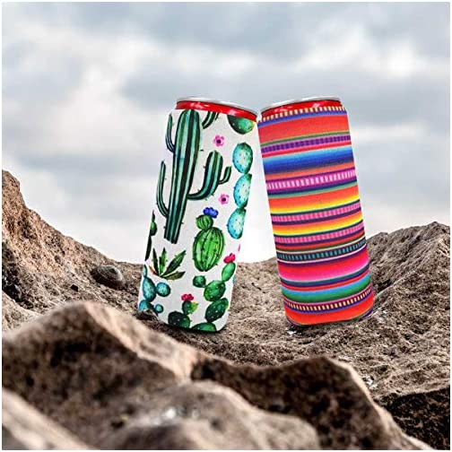 XccMe 2pcs Slim Can Cooler, Colourful Neoprene Beer Cooler Beer Coolies Beer Holders Perfect for 12oz Slim Cans like Red… |