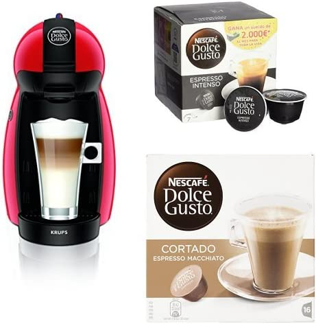 Pack Cafetera Krups Dolce Gusto Piccolo (rojo) + 3 packs café ...