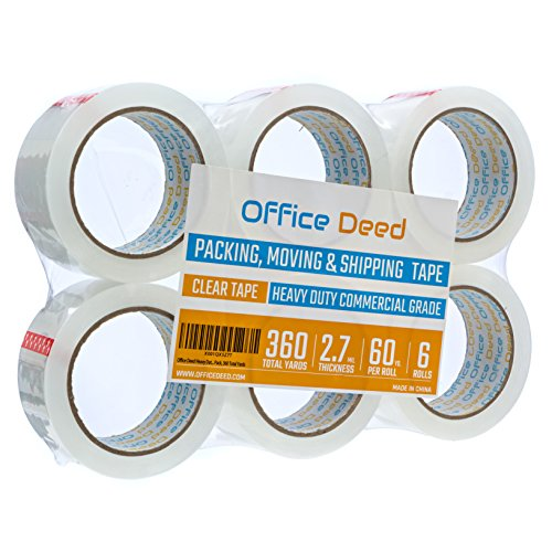 (Office Deed 6 Pack Heavy Duty Packaging Tape, Clear Packing tape Designed for moving boxes, shipping, Commercial Grade 2.7mil thickness, 60 Yards, 360 Total Yards)