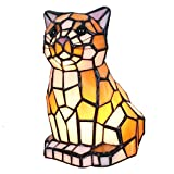 Bieye L10211 8 Inch Cut Cat Kitten Tiffany Style Stained Glass Accent Table Lamp Night Light for Bedside Living Room Bedroom Animal Pet Lover - Yellow