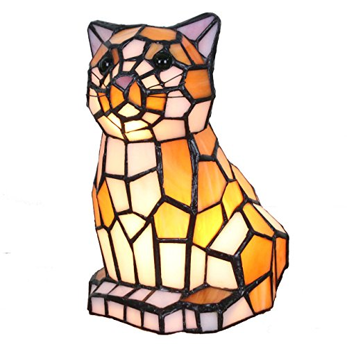 - Bieye L10211 8 Inch Sitting Cat Waits for Someone to Play with Tiffany Style Stained Glass Accent Table Lamp Night Light for Bedside Living Room Bedroom Animal Pet Lovers, Yellow