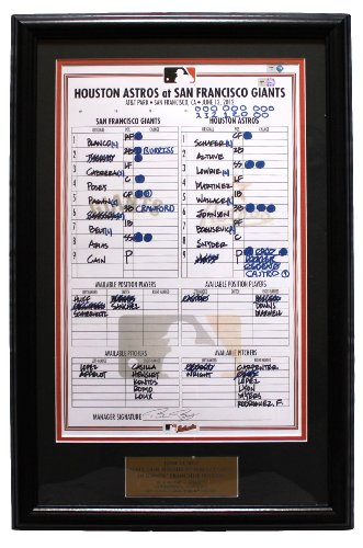 Matt Cain Perfect Game San Francisco Giants Replica Lineup Card