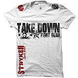 Take Down Fight Gear Skull Star MMA Ufc T-shirt (Large, White / Red Black Logo)