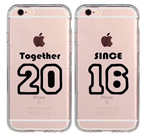 Cute Boyfriend and Girlfriend Stuff Couple Matching Gifts Cases-Together Since 2016 2014 Clear Rubber Couple Case