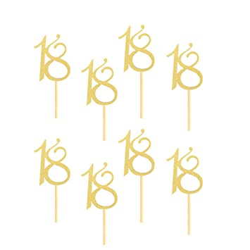 FENICAL 24 Piezas Glitter Number Cupcake Toppers Postre ...