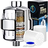 SITAFLO 15 Stage Universal Vitamin C Shower Filter with 2 Replacement Cartridges, Reduce Impurities, Remove Chlorine and Fluoride, Water Softener for Women Baby Children Pet
