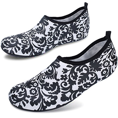 for Men Pool Women Quick Aqua Yoga Water Beach Surf Barerun Black Dry Flower Sports Shoes Socks for Swim Barefoot 85fPawqPF