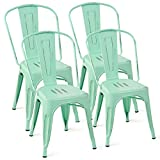 Costway Set of 4 Tolix Style Dining Chair Metal Stackable Industrial Vintage Chic High Back Indoor Outdoor Dining Bistro Café Kitchen Side Chair (Green) For Sale