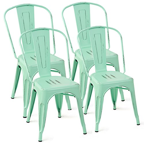 Costway Tolix Style Dining Chairs Metal Industrial Vintage Chic High Back Indoor Outdoor Dining Bistro Caf Kitchen Side Stackable Chair Set of 4 Green