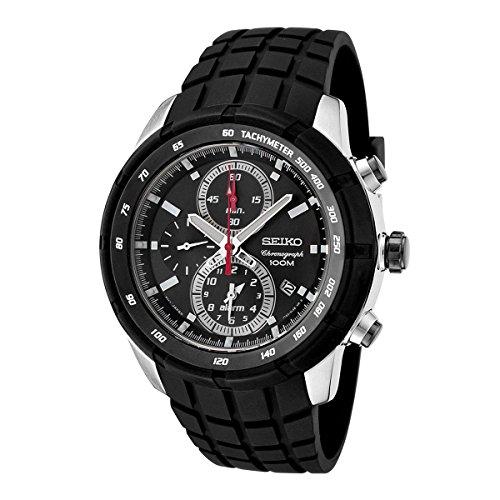 Seiko Mens Chronograph Black Strap - Seiko Men's SNAD95P1 Chronograph Black Dial Black Rubber Alarm Watch