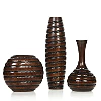 """Hosley's Carved Wood Vases; Small 6"""", Medium 8"""" and Tall 12"""" High. Ideal Gift for Weeding and Use for Home / Office Decor, Fireplace, Floor Vases, Spa, Aromatherapy Settings O9, Set of 3"""