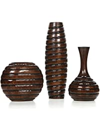 Hosleyu0027s Set Of 3 Wood Vases. Ideal For Home Office, Decor, Floor Vases