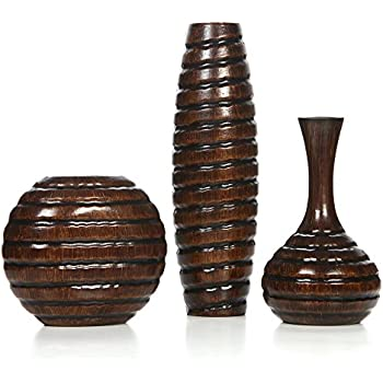 Hosley's Carved Wood Vases; Small 6