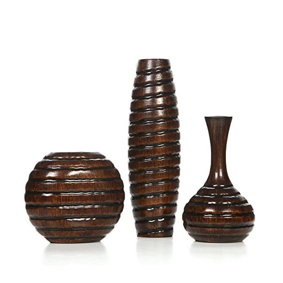 "Hosley's Carved Wood Vases; Small 6"", Medium 8"" and Tall 12"" High. Ideal Gift for Weeding and Use for Home / Office Decor, Fireplace, Floor Vases, Spa, Aromatherapy Settings O9, Set of 3 - PRODUCT: Product Name: Hosley Set of 3 Carved Wood Vases; Small 6 Inch, Medium 8 Inch and Tall 12 Inch High. USE: Great for adding a decorative touch to any room's decor. Perfect for everyday use, wedding, events, aromatherapy,Spa, Reiki, Meditation. BENEFITS: They can be placed on tables, dressers, home or office. Outside the candle holder can be used as a table decor for an excellent outside lighting accent. - vases, kitchen-dining-room-decor, kitchen-dining-room - 51M 0VQl4%2BL. SS570  -"
