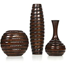 "Hosley Carved Wood Vases; Small 6"", Medium 8"" and Tall 12"" High. Ideal Gift for Weeding and Use for Home/Office Decor, Fireplace, Floor Vases, Spa, Aromatherapy Settings O9, Set of 3"